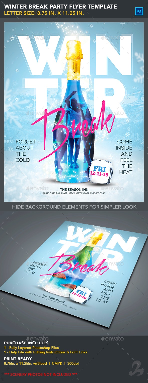Winter Break Party Flyer Template - Clubs & Parties Events