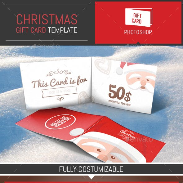 Christmas Gift Card Illustration Template