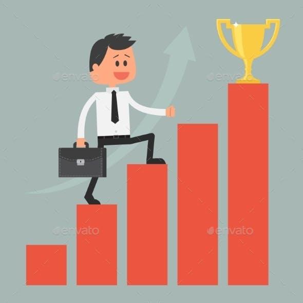 Businessman Climbing Ladder To Success. Motivation
