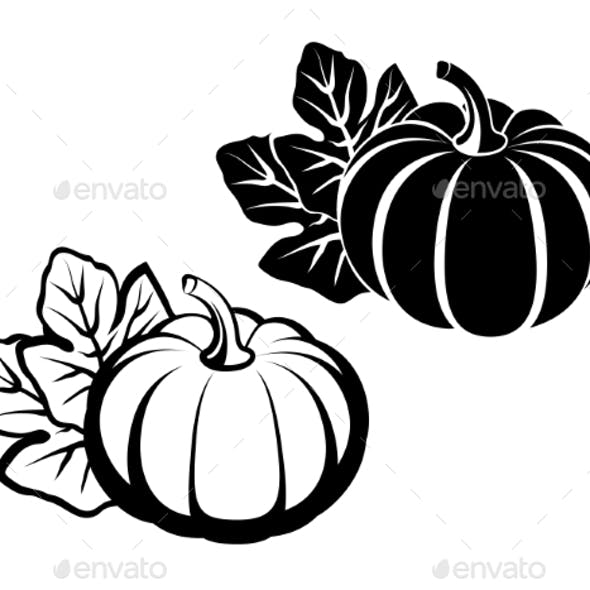Pumpkins With Leaves. Vector Black Silhouette.