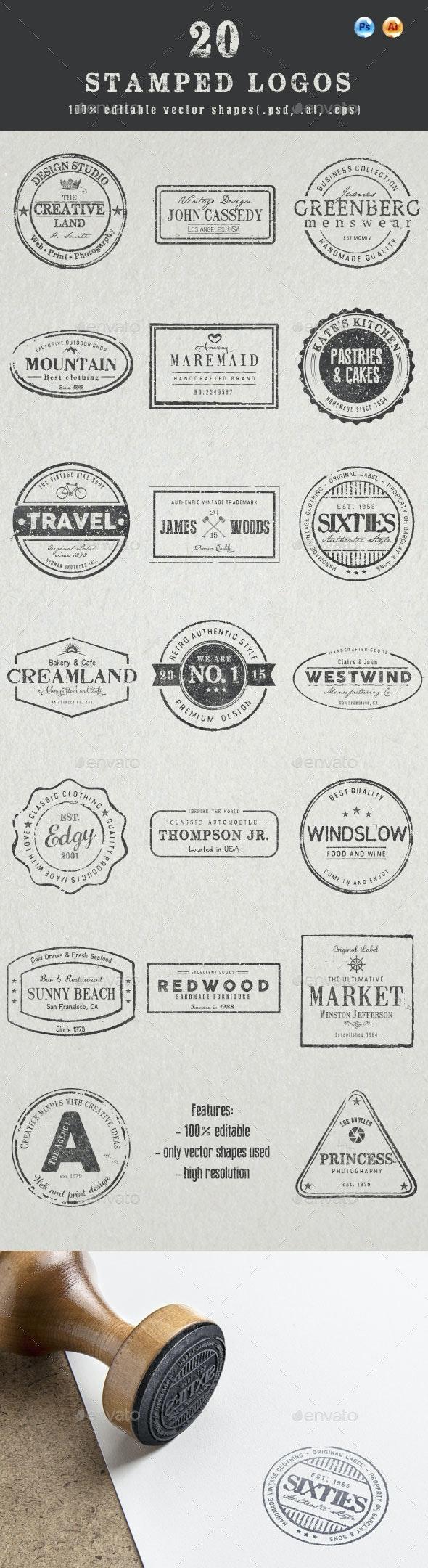 20 Stamped Logos (Photoshop & Illustrator) - Badges & Stickers Web Elements