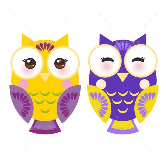 Bright Purple And Yellow Colorful Owls On White