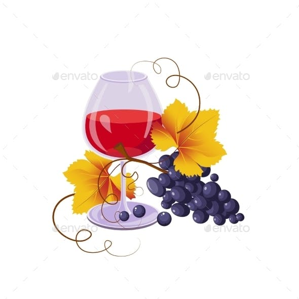 Glass Of Red Wine And Black Grapes, Vector