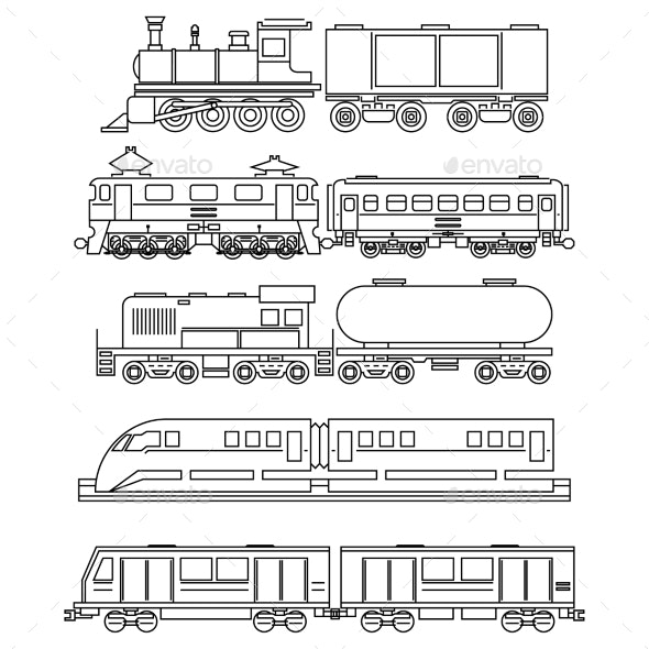 Line Art Train Icons - Miscellaneous Vectors