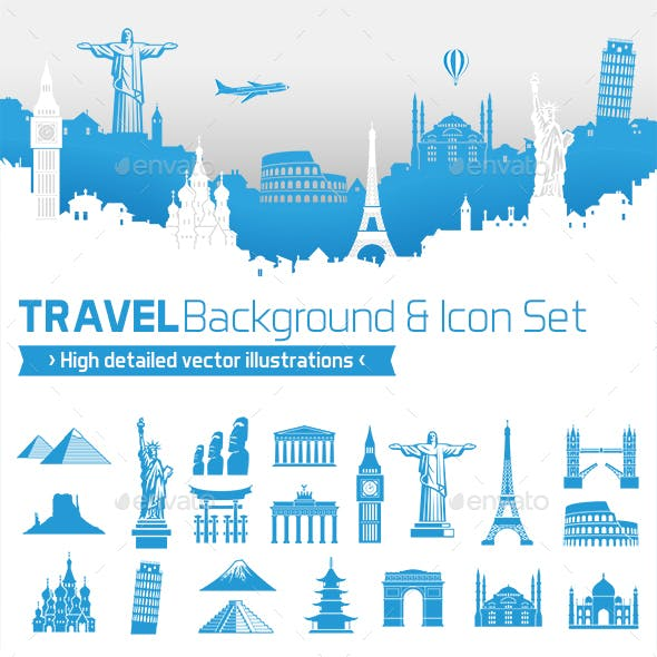 Travel Design Vector background with Icons