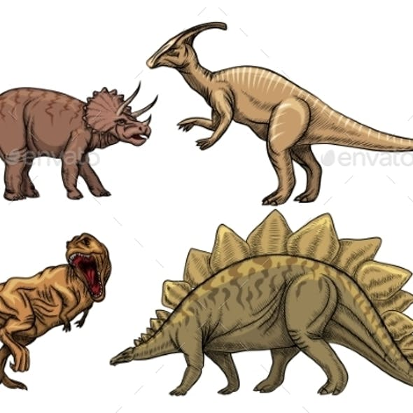 Dinosaurs Characters Set