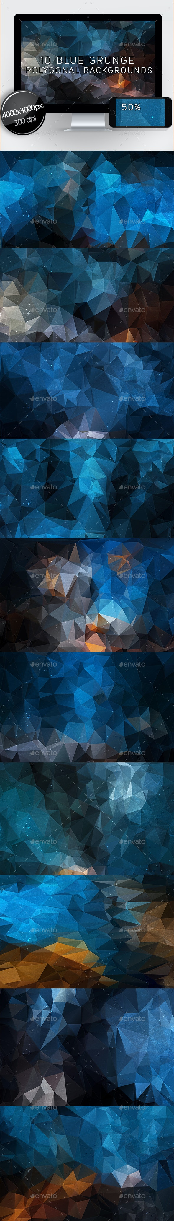 10 Blue Grunge Polygonal Backgrounds - Abstract Backgrounds