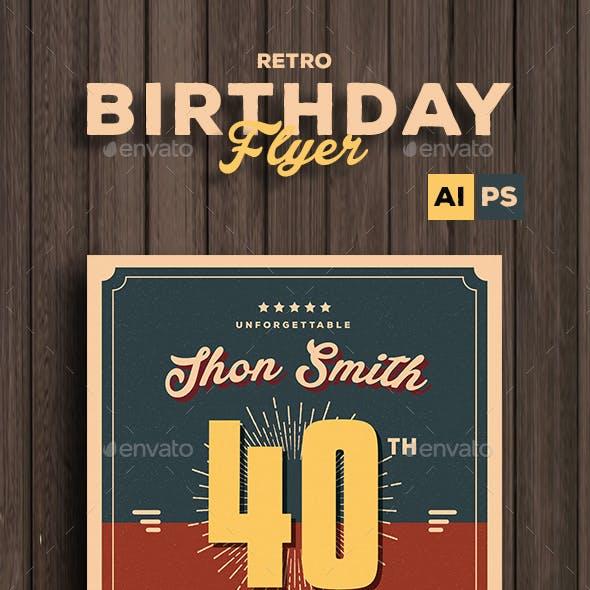 Retro Birthday Party Flyer