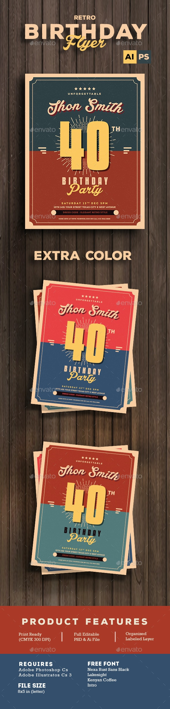 Retro Birthday Party Flyer - Flyers Print Templates