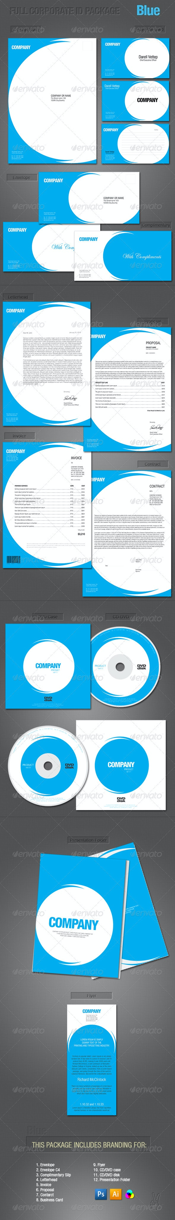 FULL CORPORATE ID PACKAGE - BLUE - Stationery Print Templates