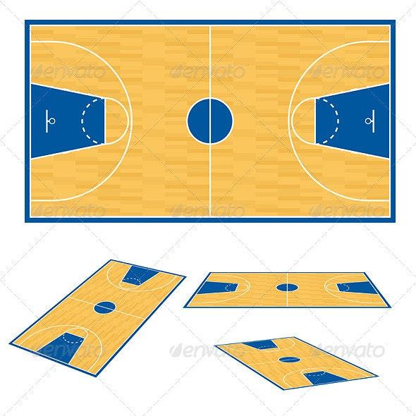 Basketball court floor plan. - Characters Vectors