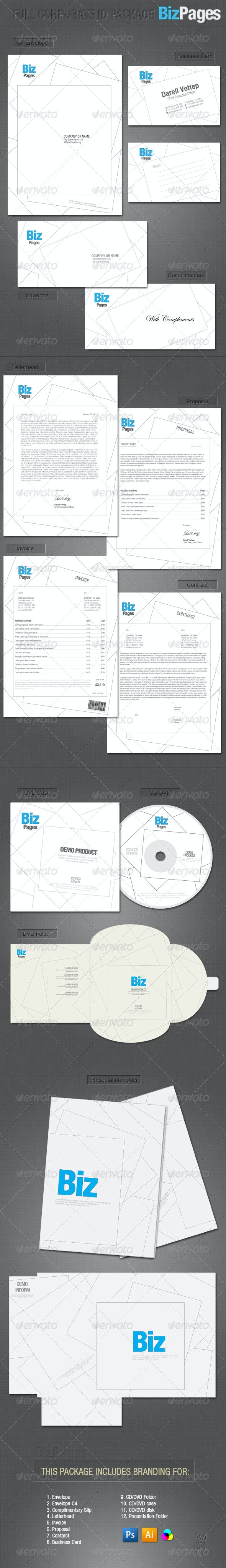 FULL CORPORATE ID PACKAGE-BIZPAGES - Stationery Print Templates