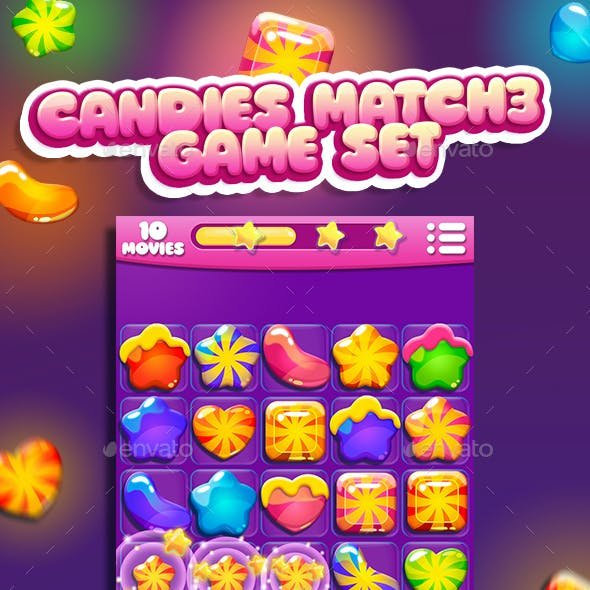 Candies for Match3 Game Set + game UI