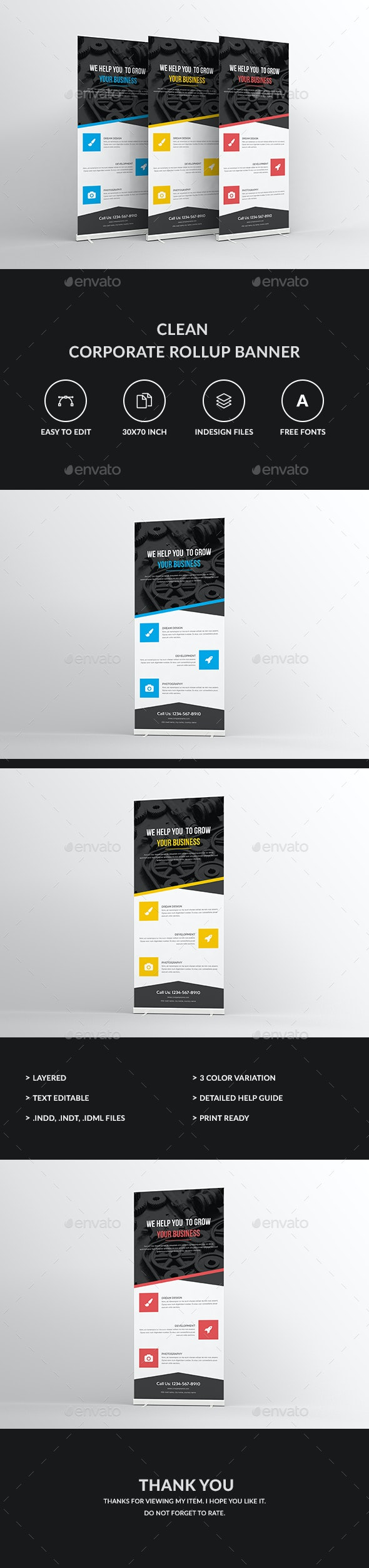 Clean Corporate Rollup Banner - Signage Print Templates
