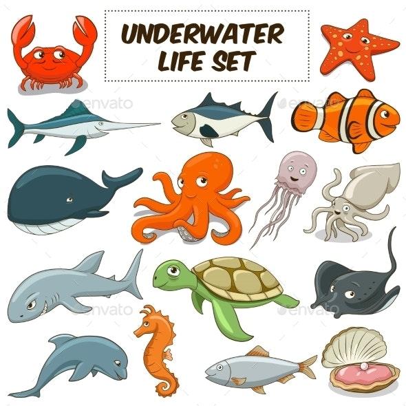 Cartoon Underwater Animals Set - Animals Characters