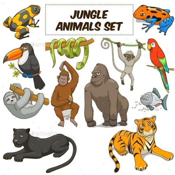 Cartoon Jungle Animals Set