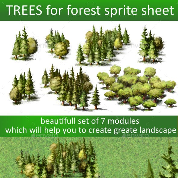 Trees sprite sheet for 2d or isometric