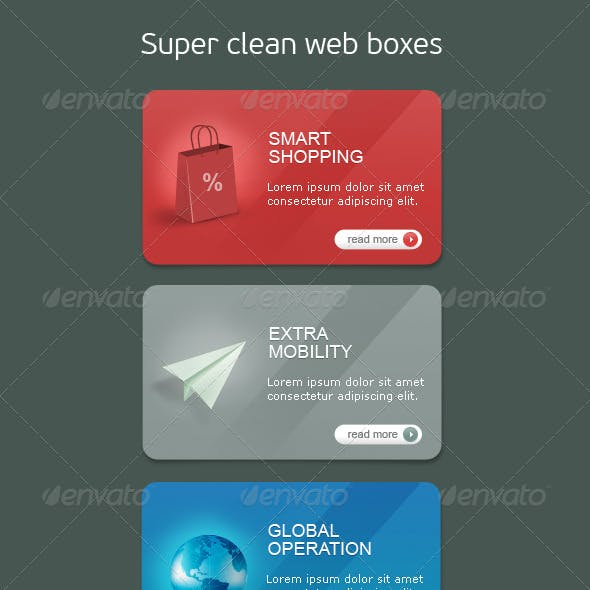 High Quality Web Boxes with Icons