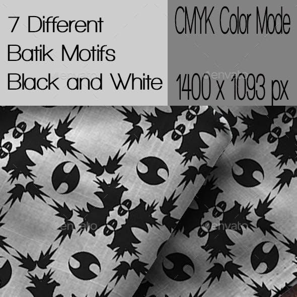 7 Different Batik Motifs Black and White