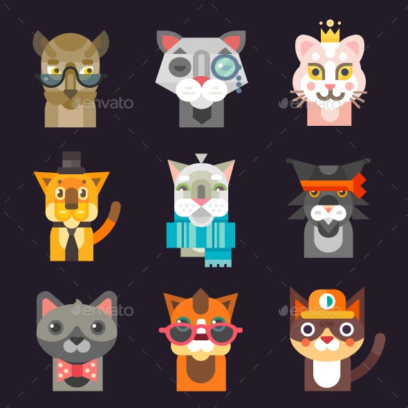 Cat Avatar Illustration Set