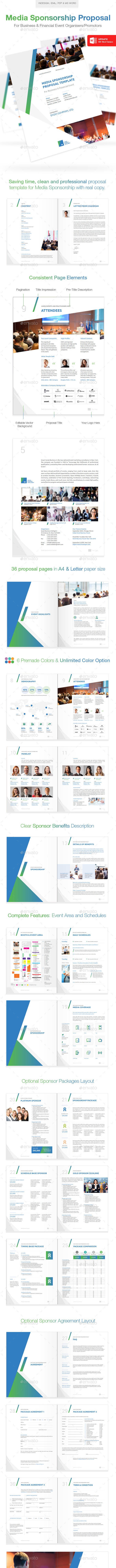 Clean Media Sponsorship Proposal Template - Proposals & Invoices Stationery
