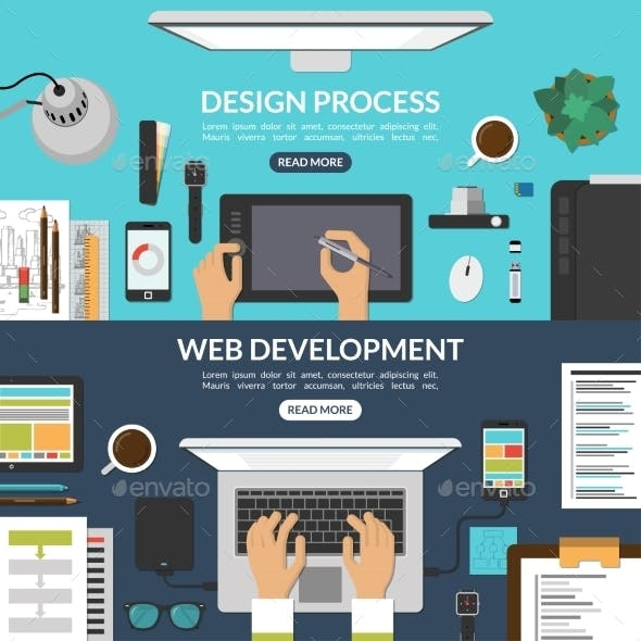 Set of Web Design and Development Process Banners