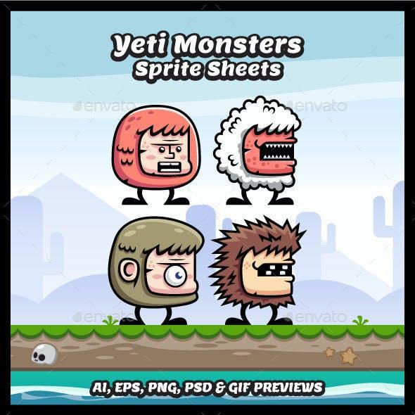 Yeti Monster Sprite Sheets
