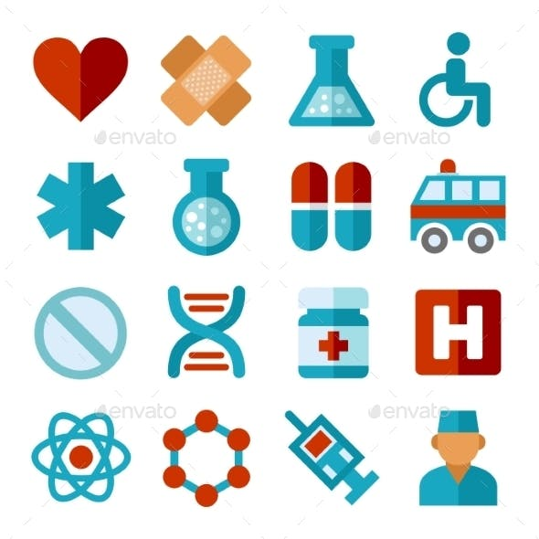 Medical Icons Set In Flat Style. Vector