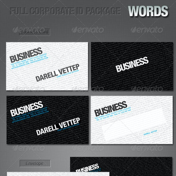 FULL CORPORATE ID PACKAGE - WORDS
