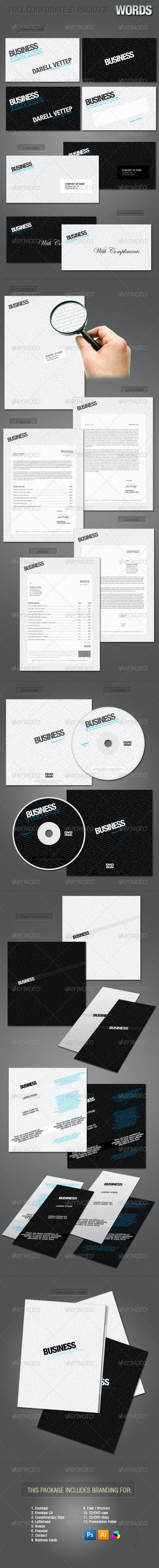 FULL CORPORATE ID PACKAGE - WORDS - Stationery Print Templates