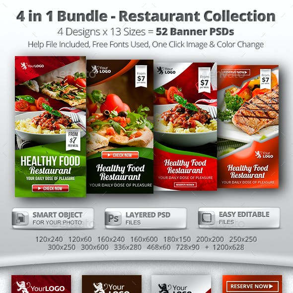 4 in 1 Bundle – 52 Food & Restaurant Web Banners
