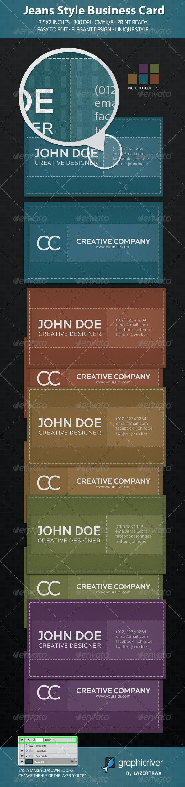 Jeans Style Business Card - Creative Business Cards