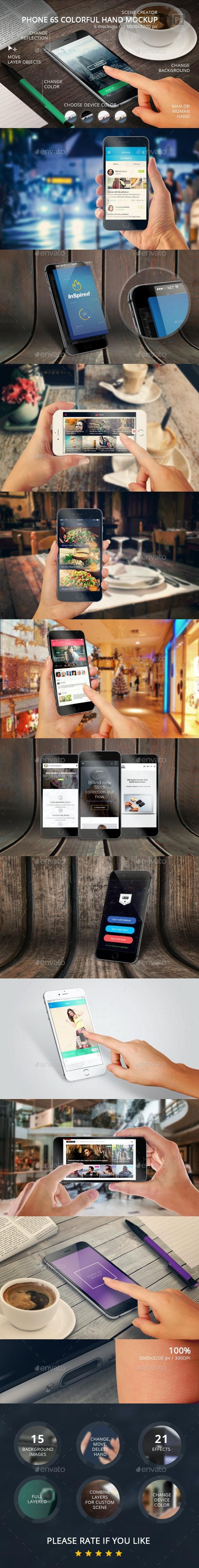 Phone 6S Colorful Hand Mockup - Mobile Displays