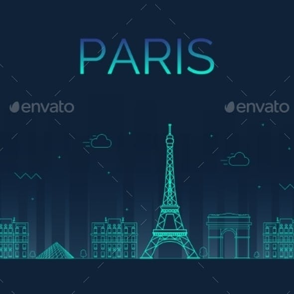 Paris City Skyline Detailed Silhouette