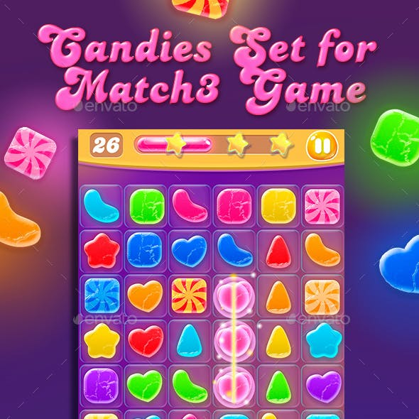 Colorful Candies for Match3 Game Set + Game UI Elements
