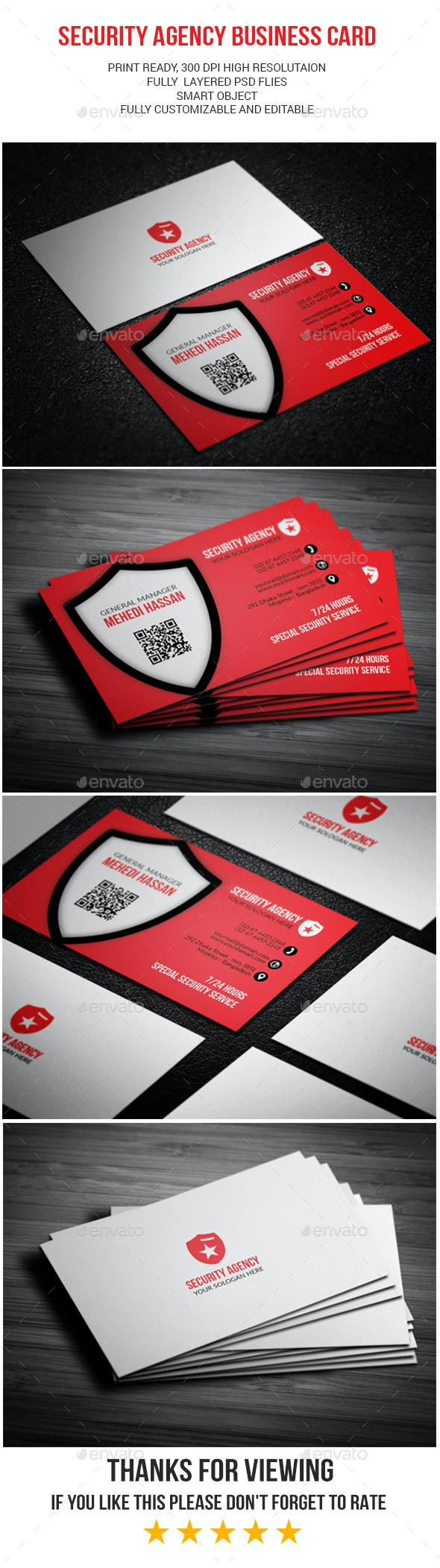 Security Agency business card - Industry Specific Business Cards