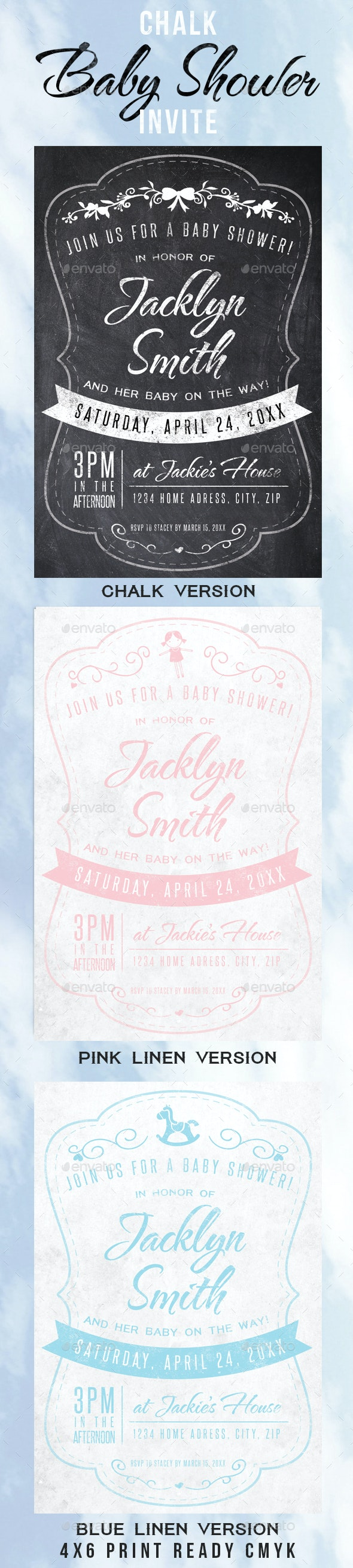 Chalk Baby Shower Invite - Invitations Cards & Invites