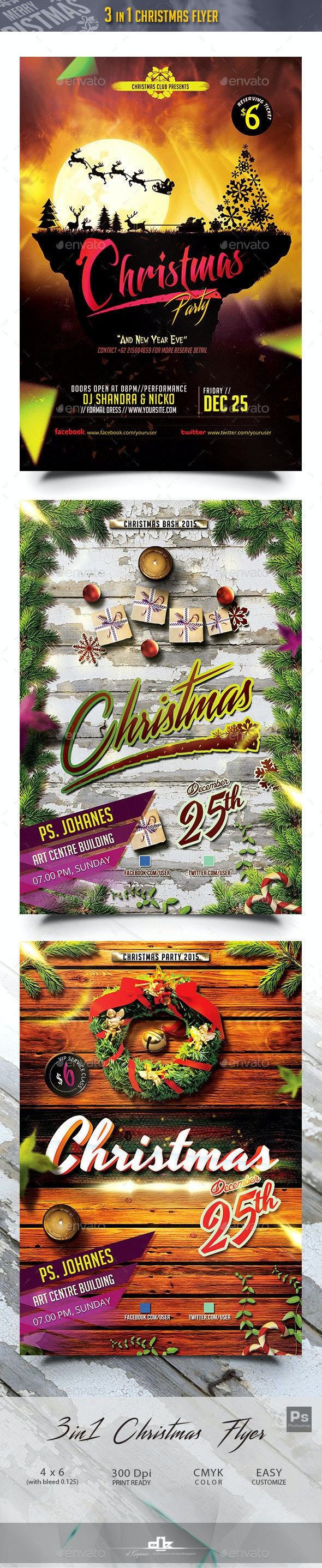3 in 1 Christmas Flyer 2015 Bundle - Holidays Events