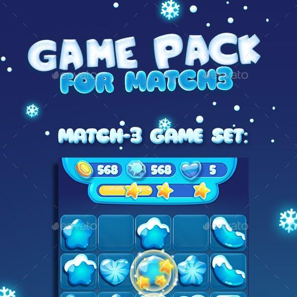 Snow Christmas Cartoon Match3 Gems and UI