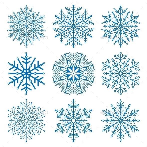 Set of Snowflakes - Web Elements Vectors