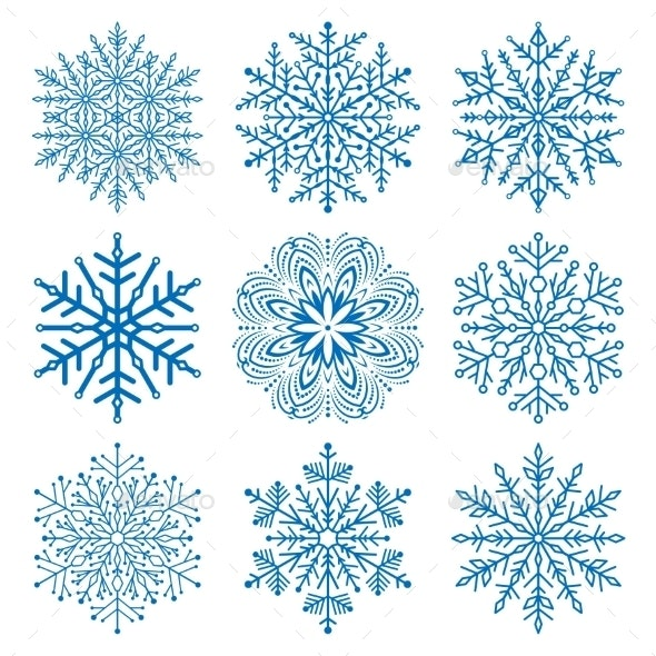 Set of Snowflakes - Web Elements Vectors