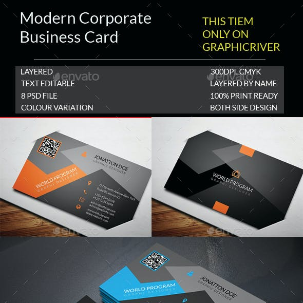 Modern Corporate Business Card Template.159