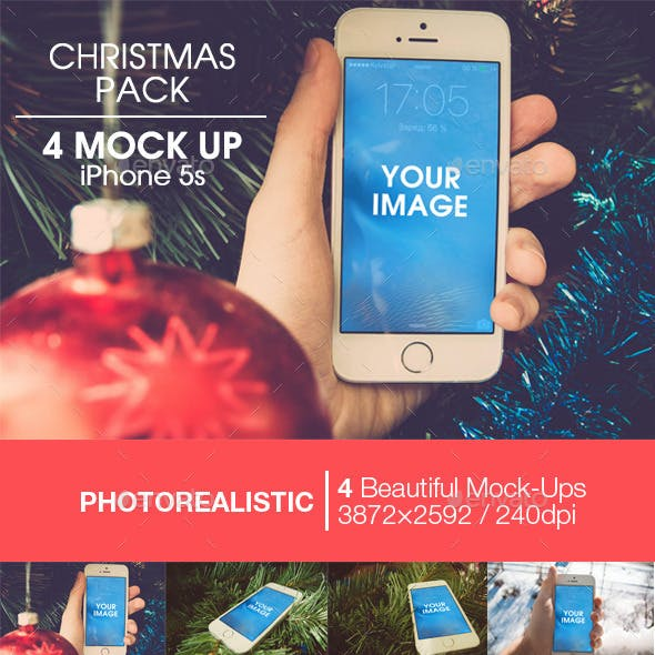 Christmas pack | 4 Mock-up iPhone 5s