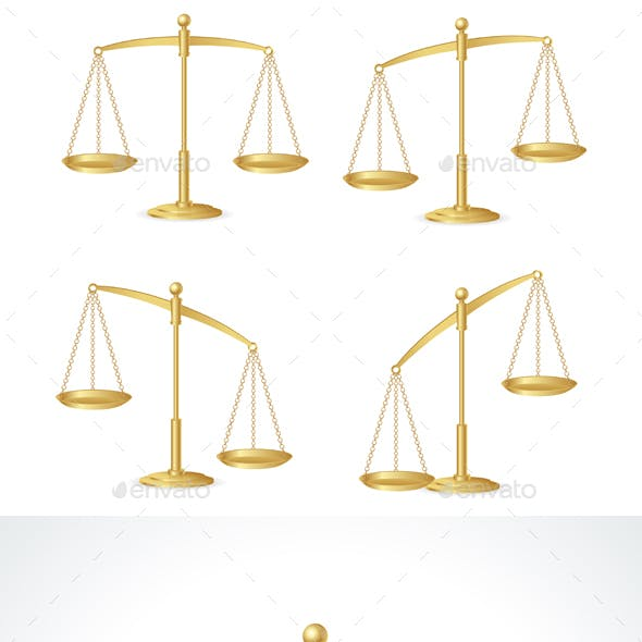 Justice Scales Set Isolated on White. Vector