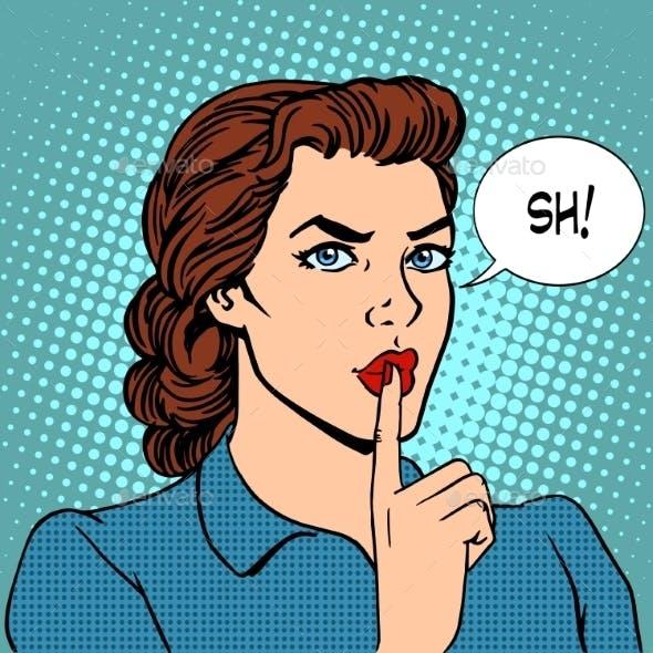 Top Secret Silence Businesswoman Concept