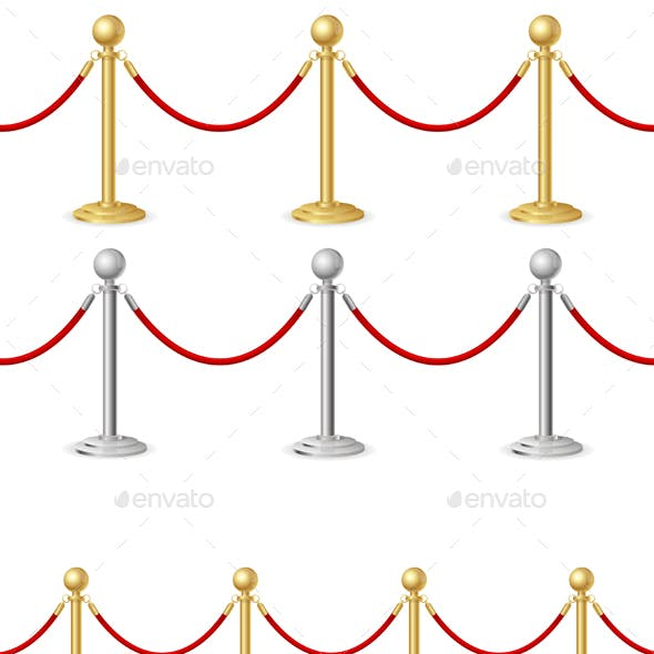 Red Event Carpet and Barrier Rope. Vector