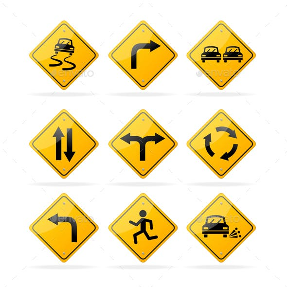 Yellow Road Traffic Signs Set. Vector