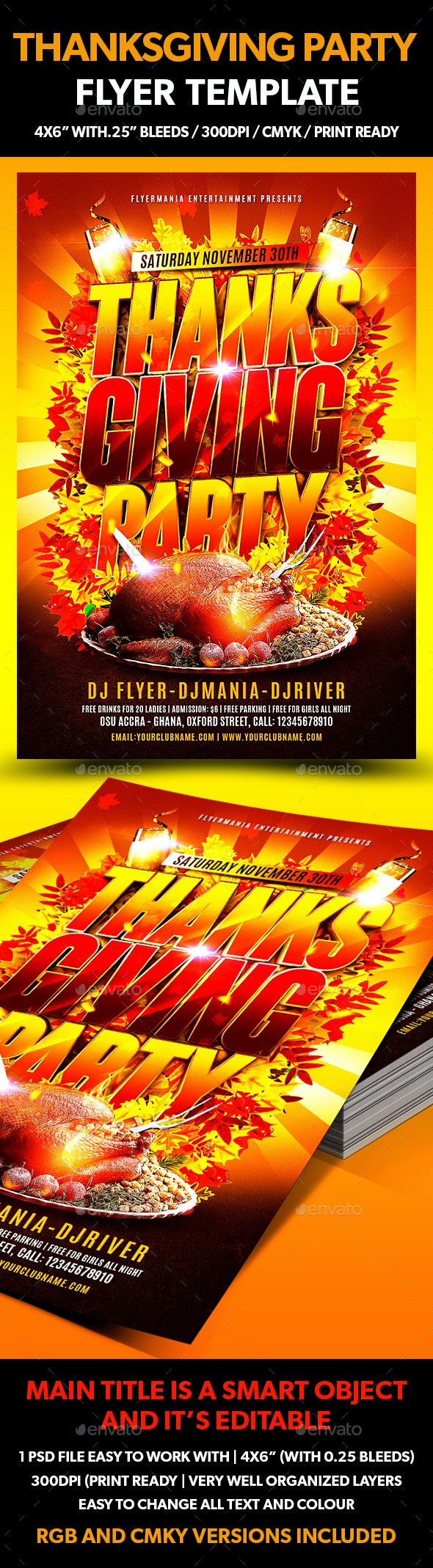 Thanksgiving Party Flyer Template - Events Flyers