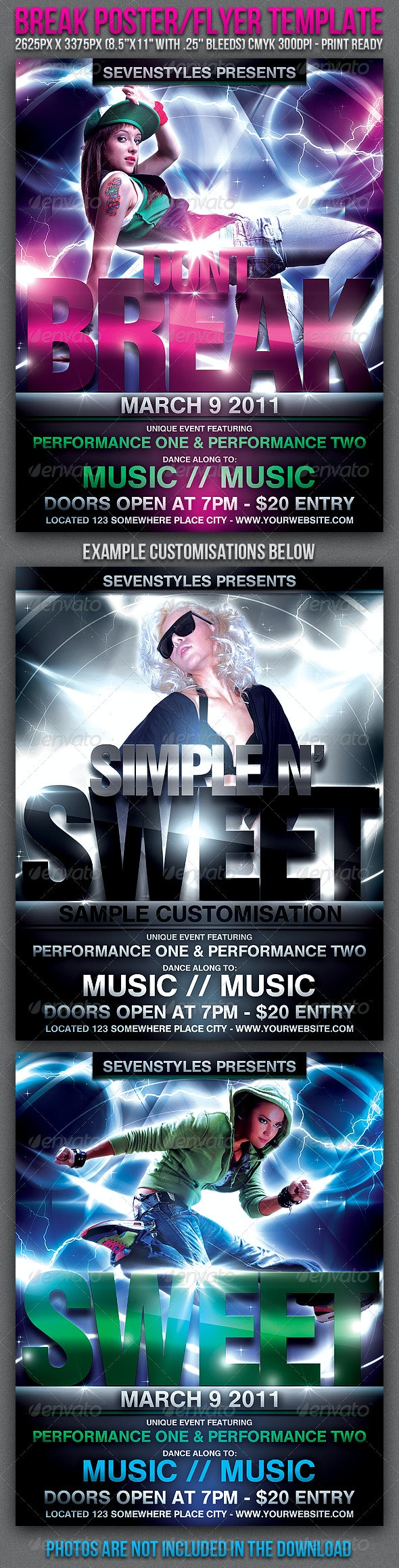 Break Poster/Flyer Template - Clubs & Parties Events