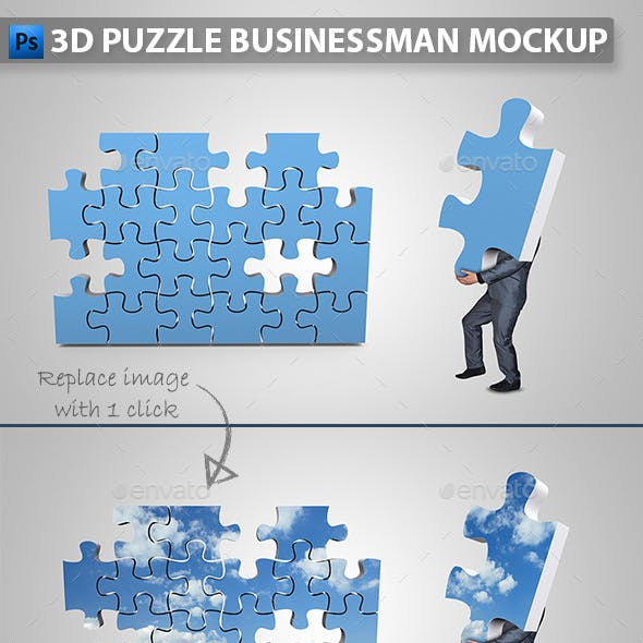 Businessman Assembling 3D Puzzle Mockup